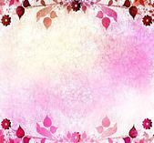 Pink floral vintage with old paper background — Zdjęcie stockowe