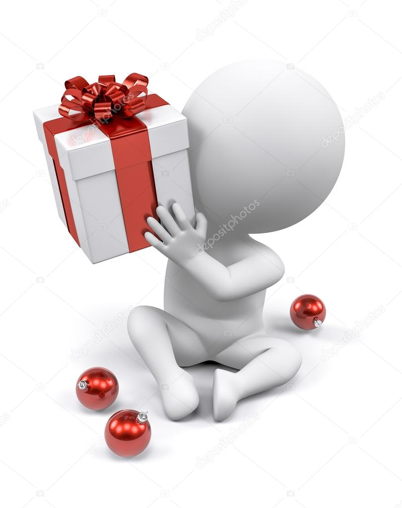 A person wondering what's inside a Christmas gift — Stock Photo #13841937