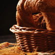 Roll in the basket with ears of corn — Stockfoto