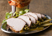 Roasted pork loin and cranberry — Stock Photo