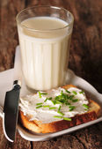 Bread with cottage cheese and milk — Stock Photo