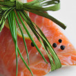 Salmon fillet with lemon and pepper — Stock Photo #20021081