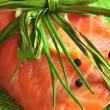 Stock Photo: Salmon fillet with lemon and pepper