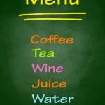 Colorful menu on blackboard — Stock Vector