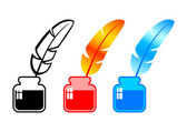 Quill with ink — Stock Vector