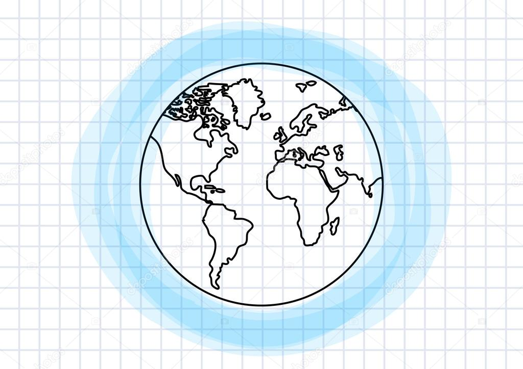 Drawing of Earth on squared paper — Stock Vector © Anthonycz ...