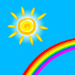 Sun and rainbow — Stock Vector
