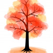 Autumn tree on white background — Stock Vector