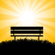 Silhouette of bench - Stock Vector