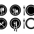 Plate and cutlery - Stock Vector
