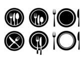 плиты и столовые приборы — Cтоковый вектор