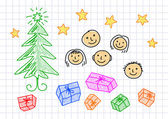 Christmas drawing on squared paper — Stock Vector