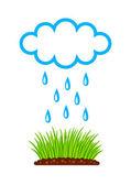 Rośliny i chmury na tle — Wektor stockowy