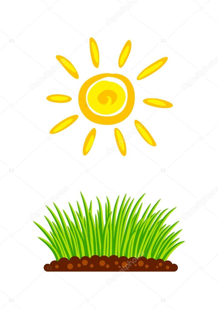 Las plantas y el sol sobre fondo blanco vector de stock - Flores que aguantan el sol ...