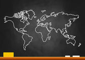 Drawing of map on blackboard — Stock Vector