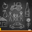 Drawings on blackboard — Vector de stock #14680365