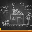 Vector de stock : Drawing of house on blackboard