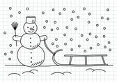 Drawing of snowman and sled on squared paper — Stock Vector