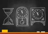 Drawing of clocks on blackboard — Stock Vector