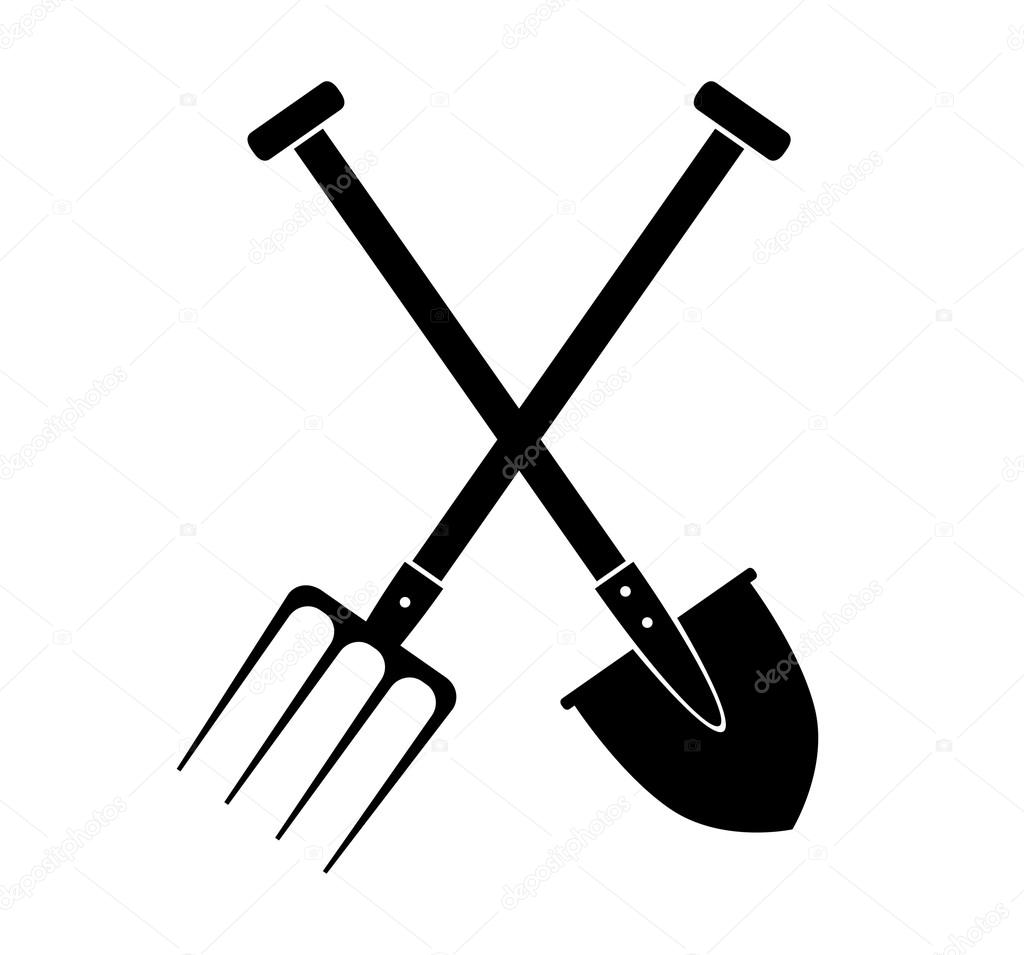 spade and pitchfork on white background  u2014 stock vector