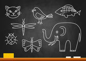 Drawings of animals on blackboard — Stock Vector