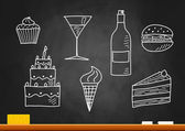 Drawing of food and drink on blackboard — Stock Vector