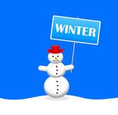 Bonhomme de neige avec bannière de slogan — Vecteur
