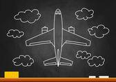Drawing of plane on blackboard — Stock Vector