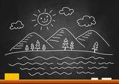 Drawing of landscape on blackboard — Stock Vector
