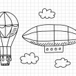 Hot air balloon and airship on squared paper - Stock Vector