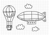 Hot air balloon and airship on squared paper — Stock Vector