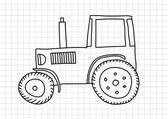 Drawing of tractor on squared paper — Stock Vector