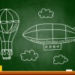 Hot air balloon and airship on blackboard - Stock Vector