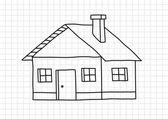 Desenho de casa em papel quadriculado — Vetorial Stock