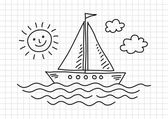 Drawing of sailboat on squared paper — Cтоковый вектор
