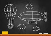 Globo de aire caliente y el dirigible en pizarra — Vector de stock