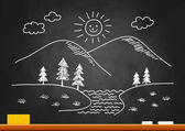 Drawing of landscape on blackboard — Stock vektor