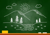 Drawing of landscape on blackboard — Vetorial Stock