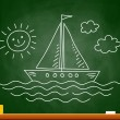 Drawing of sailboat on blackboard — Stock Vector