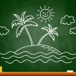 Palm tree drawing on blackboard — Stock Vector