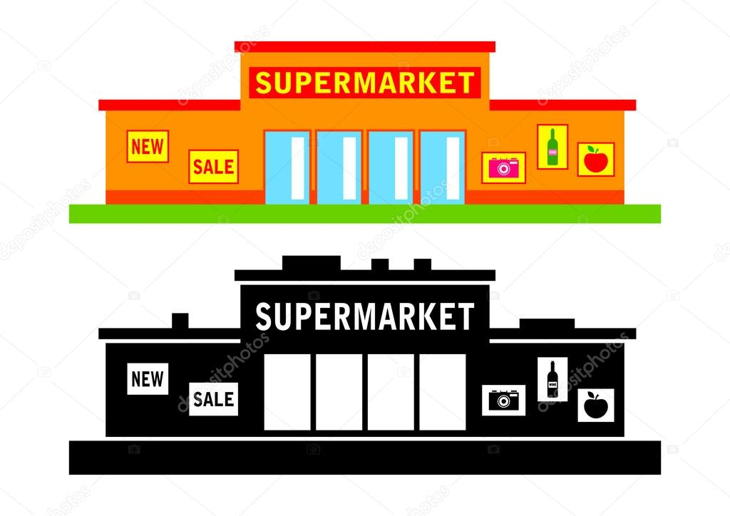 Supermarkt gebäude clipart  Set van supermarkt — Stockvector © Anthonycz #29368025