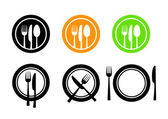 Plate and cutlery icons — Stock Vector