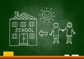 Drawing of children and school on blackboard — Stock Vector