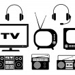 Audio and TV icons — Stock Vector #34408597