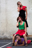 Funny faces of three dancers — Stock Photo