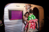 Actors near a caravan. — Stock Photo