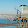 Fishing cabin and carrelet net — Stock Photo