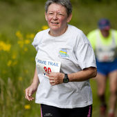 Elderly female runner. — Stock Photo