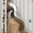 Unusual situation for a tuba player. — Stock Photo