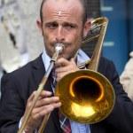Portrait of a trombone player. — Stock Photo